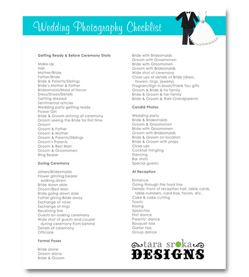 To better help you figure out all the shots to capture at your wedding